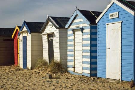 southwold: Beach huts at South Beach, Southwold Stock Photo