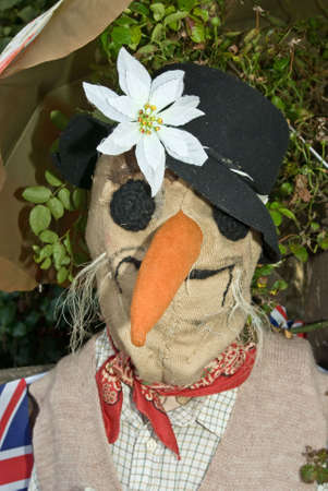 manequin: A scary scarecrow head with hat and flower