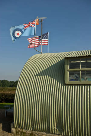 allied: The allied flags fly over a wartime military building