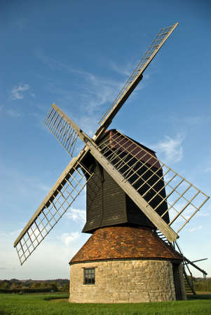 restored: A restored windmill tops a hill in the English countryside