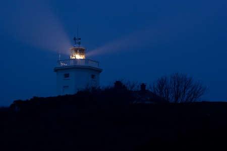A night shot of Cromer lighthouse photo