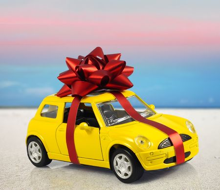 tribute: car with staple gift on surreal background Stock Photo