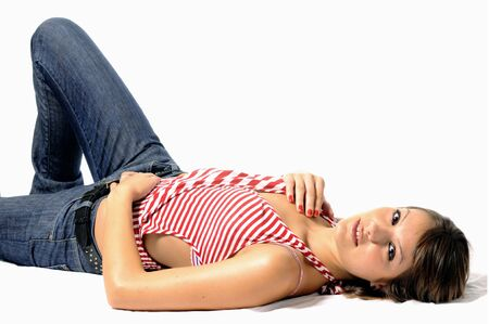smiling young woman lying on a white background Stock Photo - 3556760