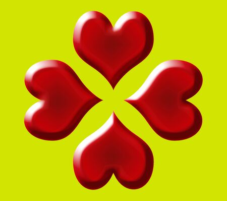 red heart group for valentines day  on green background Stock Photo - 4131915