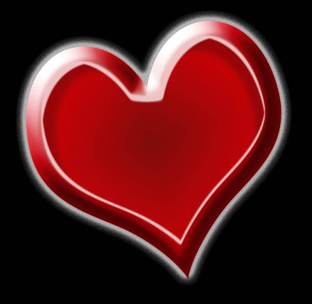 red heart for valentine day on black background Stock Photo - 4131916