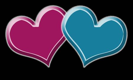 red and blue heart for valentine day on black background Stock Photo - 4131917