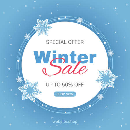 Vector banner template for seasonal winter sale with blue background and snowflakes. Usable for social media posts, web internet ads, flyers. 矢量图像