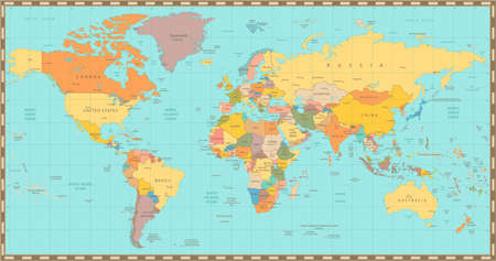 Highly detailed world map vector illustration highly detailed high detail old world mapl elements are separated in editable layers clearly labeled gumiabroncs Images