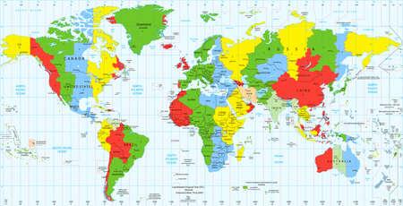 Detailed World map standard time zones. Vector illustration. Illustration