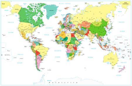 Detailed Political World map isolated on white. Vector illustration. Illustration