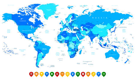 americas: Detailed vector World map of blue colors and colorful map pointers Illustration