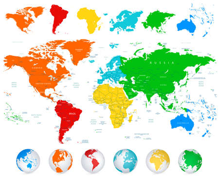 World map with colorful continents and flat map pointers highly detailed vector world map with colorful continents political boundaries country names and 3d globes gumiabroncs Choice Image