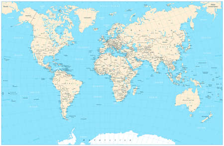 graticule: Highly detailed World Map vector illustration. Highly detailed World Map: countries, cities, graticule, water objects names.