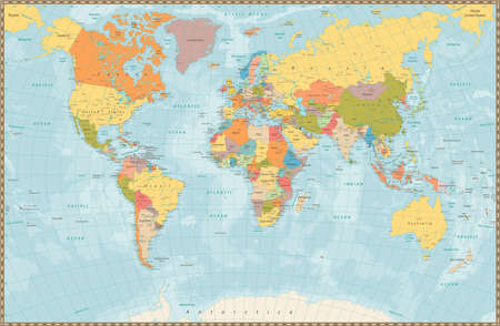 Old Retro World Map With Lakes And Rivers Highly Detailed Vector