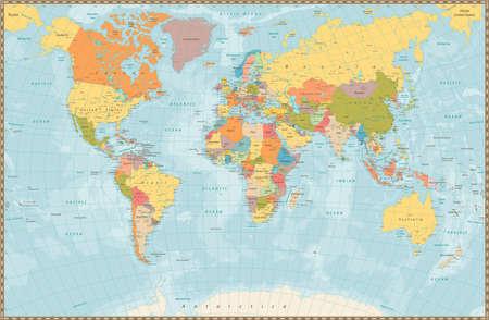 mapa politico: Mapa grande detallada del color de la vendimia política mundial de lagos y ríos. ilustración vectorial muy detallada del mapa del mundo.