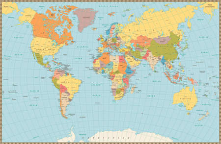 italy map: Large detailed vintage color political World Map. Highly detailed vector illustration of World Map.
