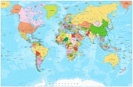new world: Detailed political world map with capitals, rivers and lakes. Vector illustration.