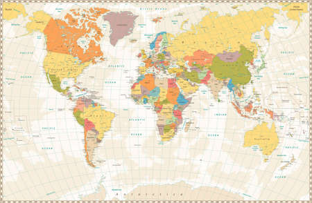 oceania: Old retro World Map with lakes and rivers. Highly detailed vector illustration of large political World Map.