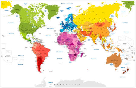 Detailed World Map spot colored illustration. Highly detailed spot colored illustration of World Map: land contours, countries and land names, city names and water object names. Illustration