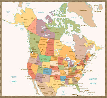 USA And Canada Large Detailed Political Map With States Provinces - Political map canada