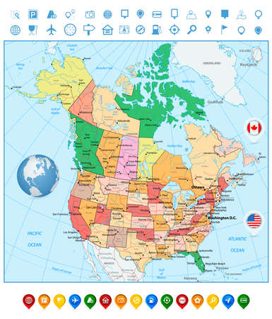 graticule: USA and Canada large detailed political map and colorful map pointers
