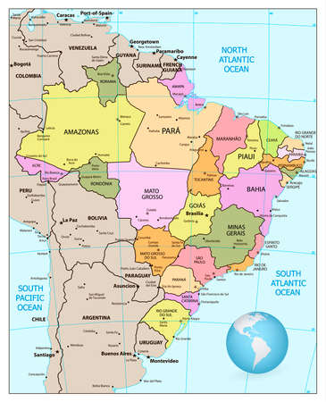 Administrative Divisions Blue Map Of Brazil Illustration Royalty