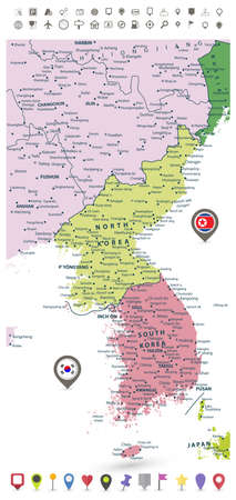 peninsula: Korean Peninsula detailed political map with flags and navigation icons isolated on white. Illustration