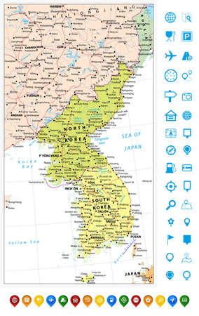 peninsula: Korean Peninsula political map and map pointers with roads, railroads, water objects, cities and capitals.