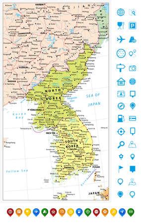 mapa politico: Península coreana mapa político y punteros de la correspondencia con caminos, ferrocarriles, objetos agua, ciudades y capitales. Vectores