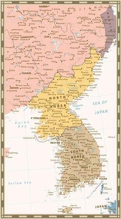 mapa politico: Retro color mapa político de la península de Corea, Mapa del Norte y Corea del Sur con objetos agua, ciudades y capitales.