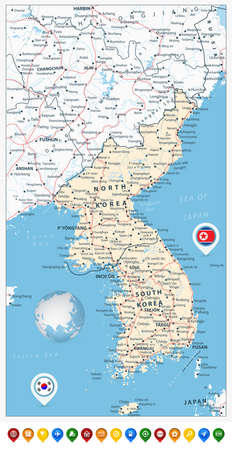 peninsula: Korean Peninsula Road Map and Map Pointers with roads, railroads, water objects, cities and capitals.