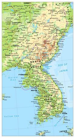 Detailed Map Of Korean Peninsula With World Map Navigation Set