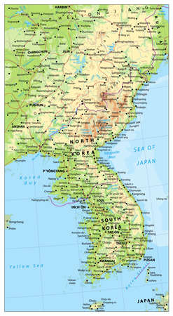 peninsula: Korean Peninsula large detailed physical map with roads, railroads, water objects, cities and capitals.