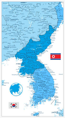 peninsula: Korean Peninsula Map in colors of blue isolated on white, North And South Korea Map with cities and capitals.