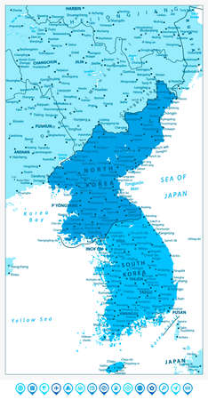 peninsula: Korean Peninsula Map in colors of blue and blue map pointers, North And South Korea Map with cities and capitals.
