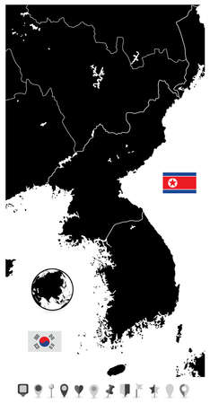 peninsula: Korean Peninsula black blank map, North And South Korea and flat navigation set with cities and capitals. Illustration