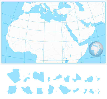 graticule: Blank outline map of Northern Africa and the Middle East with separated layers. Illustration