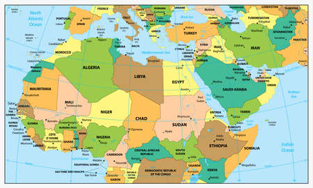 graticule: Highly detailed political map of Northern Africa and the Middle East