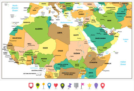 Algeria Map Pin Stock Illustrations Cliparts And Royalty Free - Political map of algeria