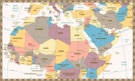 graticule: Retro color map of Northern Africa and the Middle East