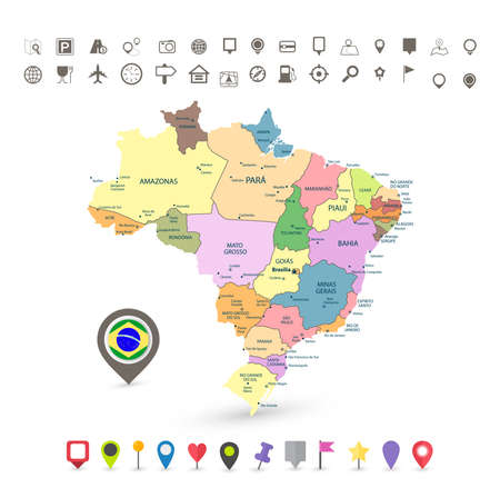 political division: Brazil map with flag and navigation icons isolated on white.