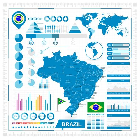 belem: map of Brazil and infographic elements collection. illustration.
