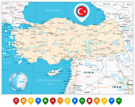east river: Detailed road map of Turkey and colorful map pointers with separated layers.