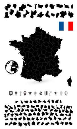 corsica: Detailed map of France and flat navigation set. illustration.