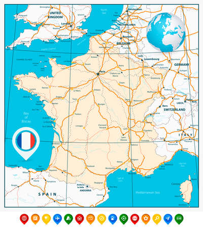 Detailed road map of France and colorful map pointers. All layers are separated and clearly labeled. Illustration
