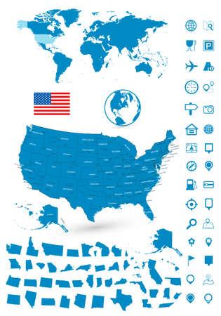 Detailed map of USA and World map navigation set. illustration.