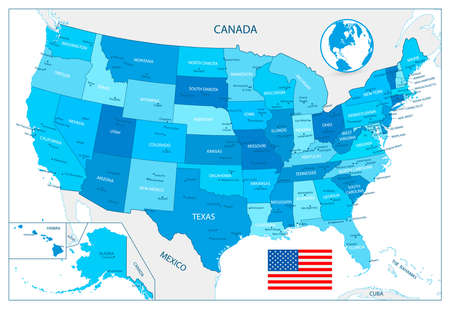 Highly detailed USA map in colors of blue isolated on white.