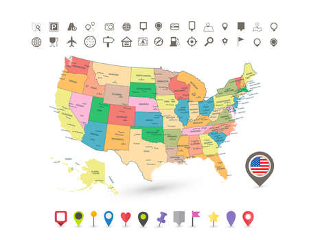 USA map with flag and navigation icons isolated on white.