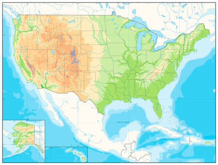 terrain: Detailed Relief map of USA. No text. illustration.