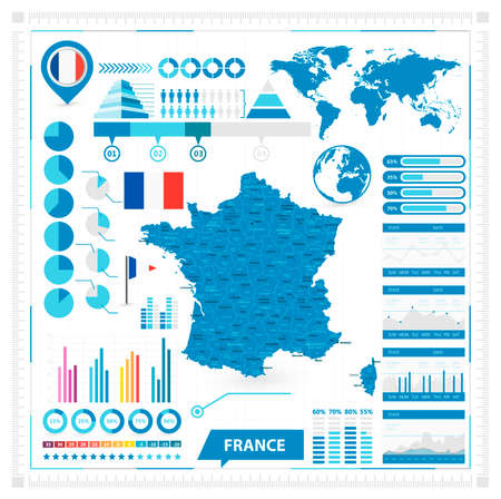 geographical locations: map of France and infographic elements collection. illustration.